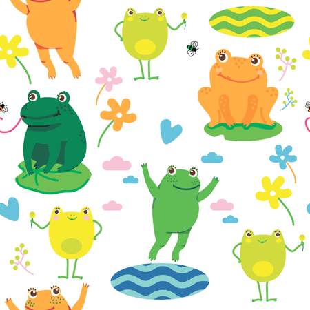 Seamless vector pattern with cute frogs. Repeating frogs background. - Vector Ilustração