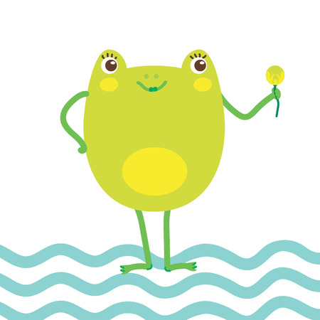 Hand drawn vector illustration of a cute happy frog girl with lily flower. Concept for children print. - Vector
