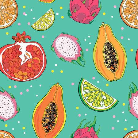 Seamless pattern with exotic tropical fruits. Pomegranate, papaya, lemon, orange, pitahaya, lime. Colorful design – Vector illustration Ilustração