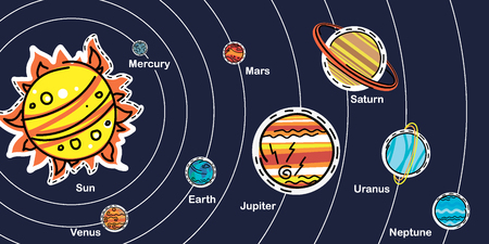 Vector illustration of Solar System with cute cartoon doodle planets on dark Ilustração
