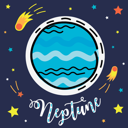 Neptune planet. Vector collection of solar system planets.