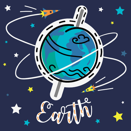 Earth planet with stars and space rocket. Vector collection of solar system planets.