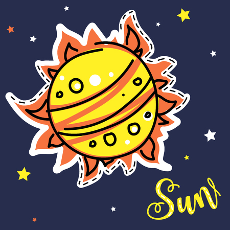 Bright shining sunstar. Vector collection of solar system planets. Educational visual aid for children. Practical handout for kids learning. Cute, doodle, cartoon style.
