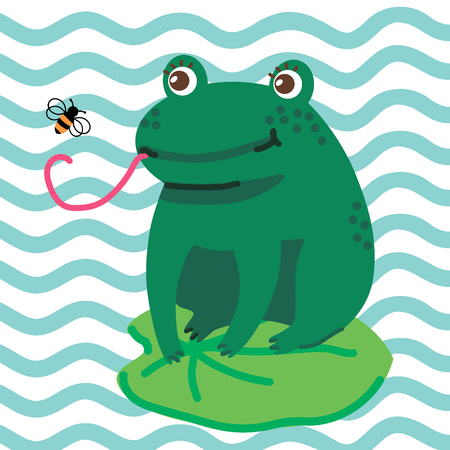 Hand drawn vector illustration of a cute happy frog sitting on a leaf and catching a fly. Hello summer. Concept for children print. - Vector
