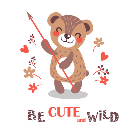 Cute baby bear is holding a spear.