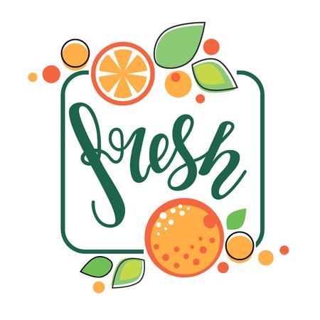 Bright sticker, emblem logo and label for orange fresh citrus juice with lettering composition Ilustração