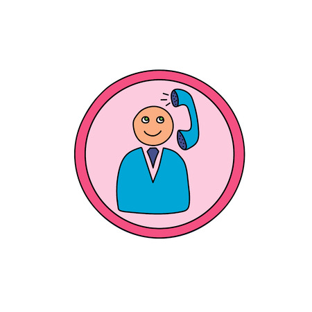Cute business operator icon.