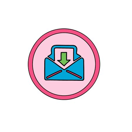 Inbox Business cute icon. Incoming, mail, load, mailbox symbol Icon in a cute cartoon comic style. Ilustração