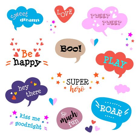Collection of cute hand drawn think and talk funny speech bubbles Çizim