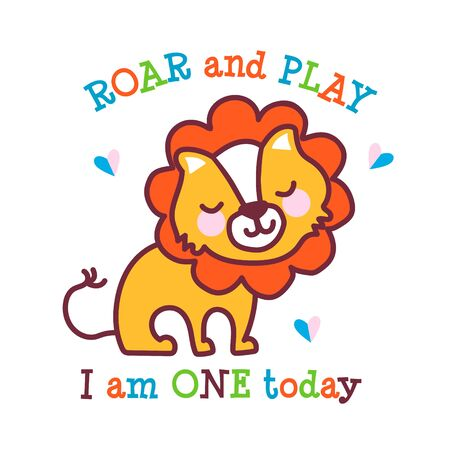 A cute little baby lion celebrates its first birthday. I am one year old today. Ilustração