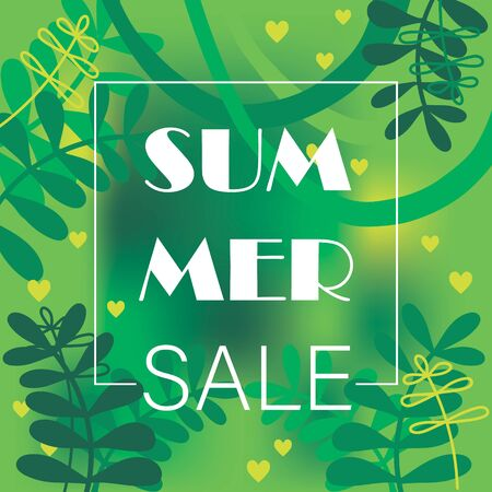 Summer sale  with palm and trees.