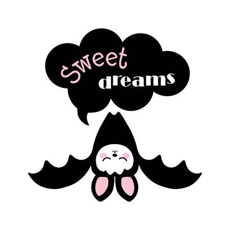 Cute bat sleeping upside down on the speech bubble.