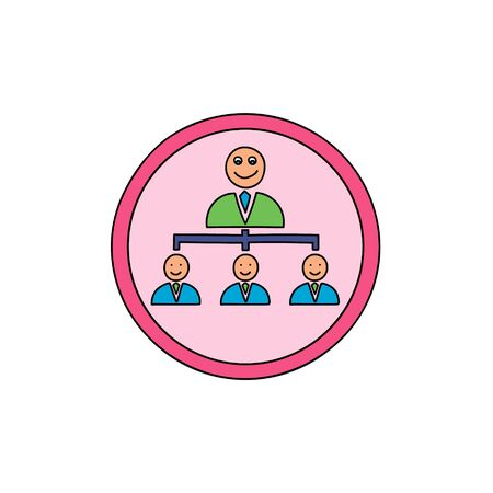 Team leader Business cute icon. Team leader symbol Icon in a cute cartoon comic style. Ilustração