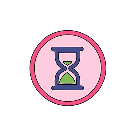 Hourglass Business cute icon. Clock symbol Icon in a cute cartoon comic style.