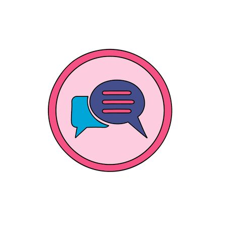 Chat Business cute icon. Speech bubble symbol Icon in a cute cartoon comic style