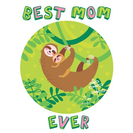 Two cute sloth. Mom and baby