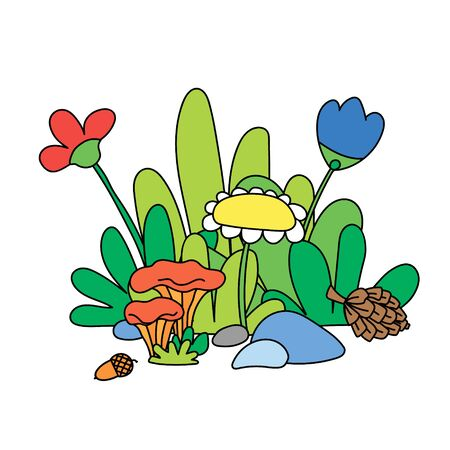 A cute illustration of forest flowers and mushrooms.