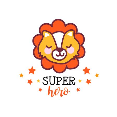 Cute baby lion with funny text inscription Super Hero.