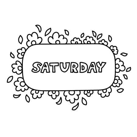 Hand drawing black and white weekly planner Saturday  template.