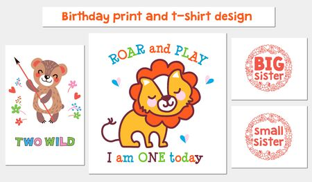 Vector set of Birthday print and t-shirt design with cute animals Bear, Lion.