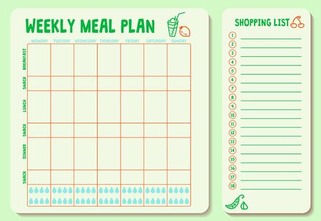 Weekly meal plan. Meal Plan for a week, calendar page, shopping list, water intake scheme.
