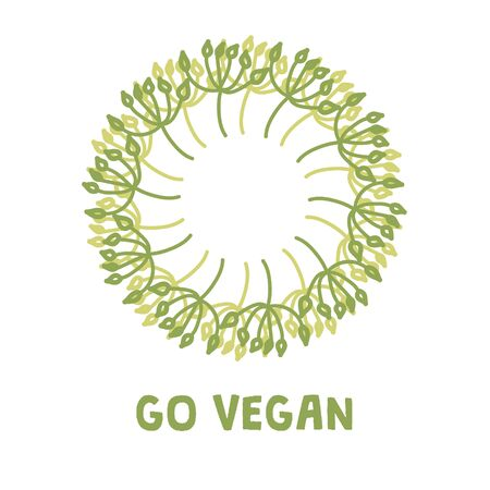 Vegan product label. Suitable for ads, signboards, packaging and identity and web designs Ilustracja