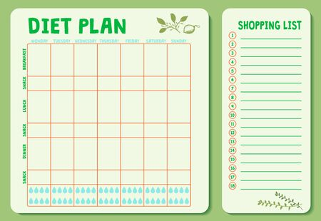 Weekly Diet plan. Meal Plan for a week, calendar page, shopping list, water drinking schedule.