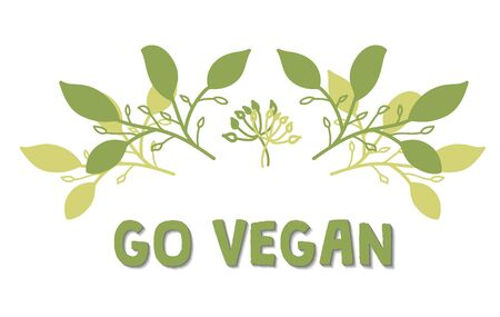 Olive tree branch with green leaves. Vegan product label