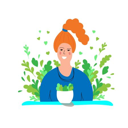 Young woman eating healthy food sitting at the table with green plants Ilustracja