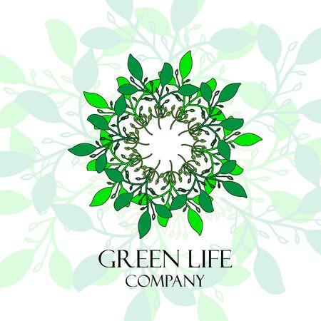 Green leaves wreath hand drawn Ilustracja
