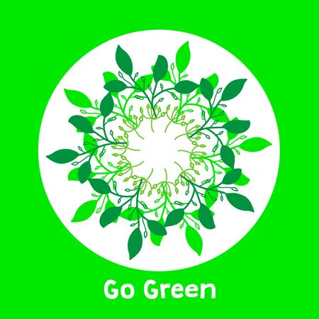 Green motivational hand drawn ecology symbol with leaves.