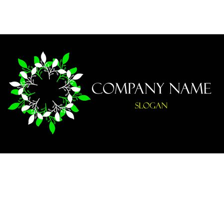 Green leaves wreath sign on business card
