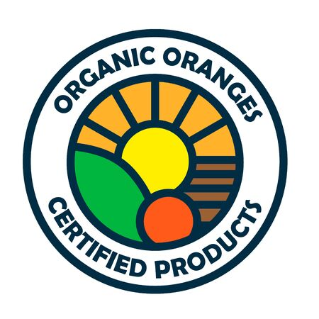 Organic orange garden landscape with ripe oranges Ilustracja