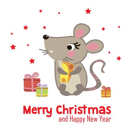 Greeting Christmas and New year card with cute funny mouse. Ilustracja
