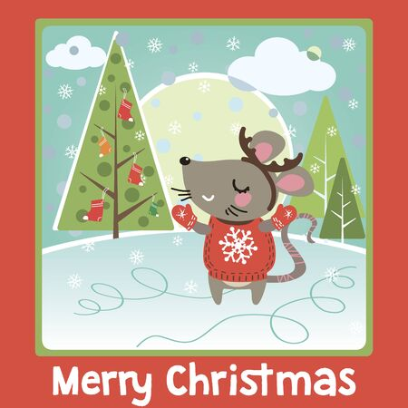 Greeting Christmas and card with cute funny mouse. Happy new 2020 year of the rat zodiac.