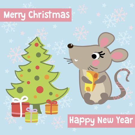 Greeting Christmas and New year card with cute funny mouse Ilustracja