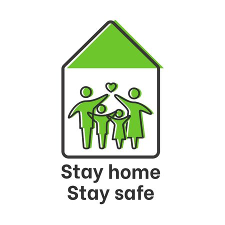 A family staying home safe during quarantine of coronavirus COVID 19.