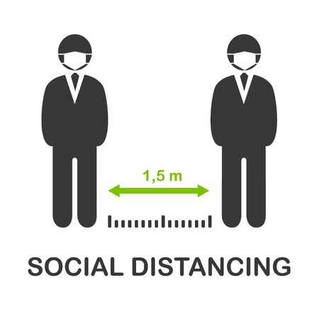 Social distancing vector icon, keep distance 1,5 m in public society people to protect from COVID-19 coronavirus outbreak spreading concept, People in medical mask keep distance away in the meeting.