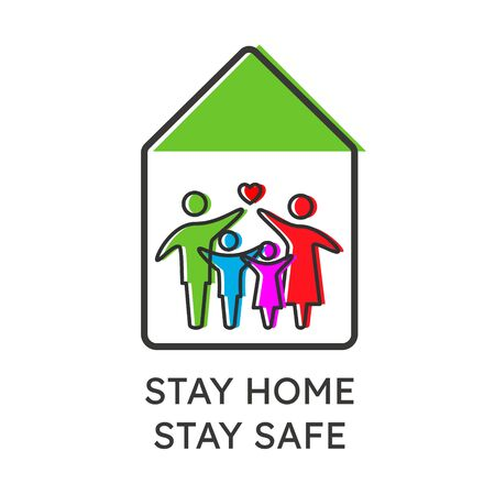 A family staying home safe together during quarantine of coronavirus COVID 19. Stay home stay safe quarantine concept.