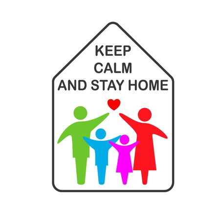 Keep calm and stay home concept vector illustration.