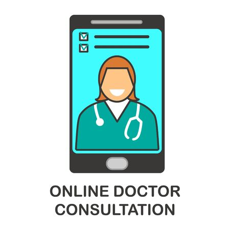 Online doctor app hand drawn vector icon illustration. Professional physician, general practitioner icon character. Mobile consultation, smart medical assistance. Modern telemedicine, e health concept