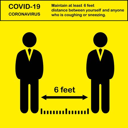 Social distancing, keep distance 6 feet in public society people to protect from COVID-19 coronavirus outbreak spreading concept, Infographic design distance away in the meeting with virus pathogens