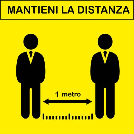 Mantieni La Distanza. Keep Your Distance in Italian. Social Distancing Instruction Sign. Vector Image. Illustration