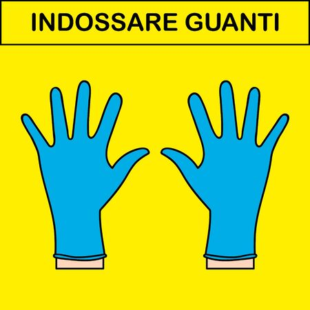 Two hands in medical gloves. Italian vecttor sign