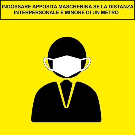 Wear mask in italian. Social Distancing Instruction Sign. Vector Image. Illustration