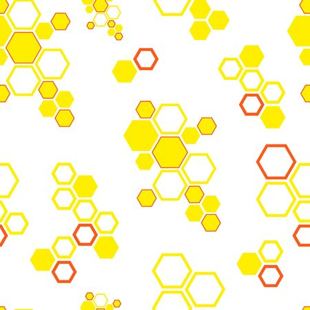 Vector seamless pattern with honeycombs on white