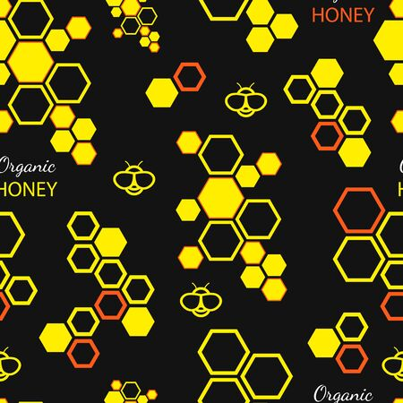 Vector seamless pattern with honey bee and honeycombs on black