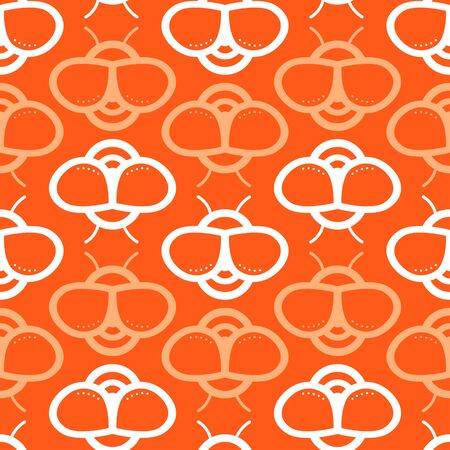 Vector seamless pattern with honey bee on orange