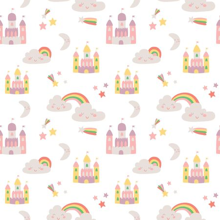 Cute Magic land vector seamless pattern with fairy castle, clouds, colorful rainbow, moon and star Illustration