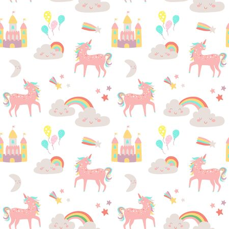 Cute Magic land vector seamless pattern with fairy castle, clouds, unicorn, balloons, colorful rainbow, moon and star